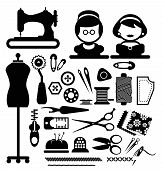 Sewing equipment and dressmaking accessories icons set poster