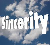 Sincerity word on cloudy sky to illustrate being truthful, honest, direct and open in communication and relationships with others poster