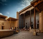 Inner yard in the ancient town of Ithcan Kala, city of Khiva, Uzbekistan poster