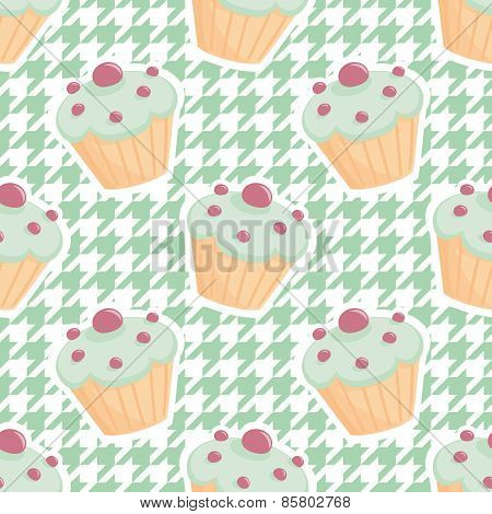 Tile vector cupcake pattern on mint green houndstooth background
