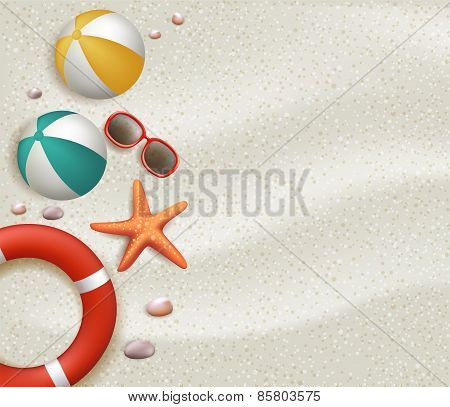 Summer Holidays Blank Background in the White Beach Sand