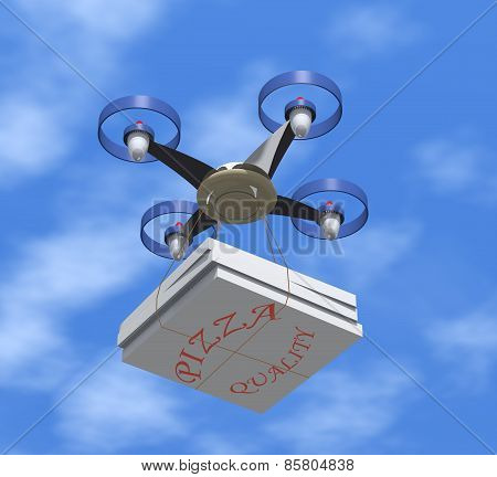 Drone Delivers Pizza Boxes.