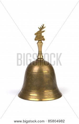 Antique Brass Hand Bell On White