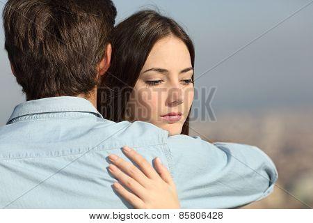 Sad Woman Hugging Her Boyfriend Couple Problems