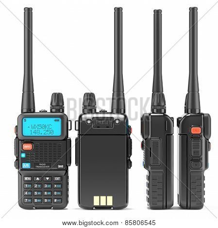 Portable Walkie-talkie with digital display and a large antenna. Black radio transceiver with PTT and call buttons. The view from all sides. Isolated on white background. 3d poster