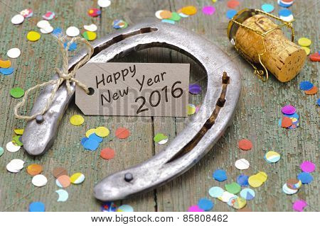 Happy new year 2016 with horse shoe