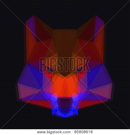Bright Colored Abstract Polygonal Wolf Background