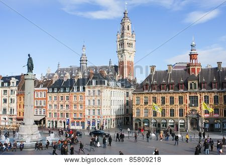 Central Place General De Gaulle In Lille, France.