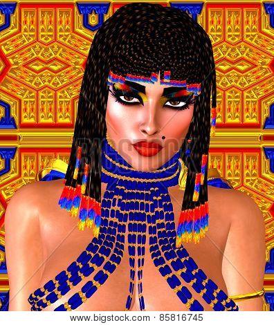 Cleopatra or any Egyptian Woman Pharaoh. Modern digital art fantasy.