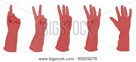 Red gloves gesturing numbers isolated on white