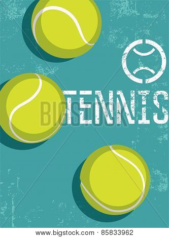 Tennis vintage grunge style poster. Retro vector illustration with tennis balls.