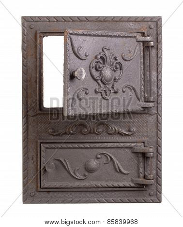 Cast iron door for furnaces. Isolated on the white background. poster