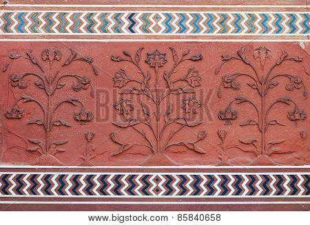 Detail Decorative Of The Jawab. Taj Mahal