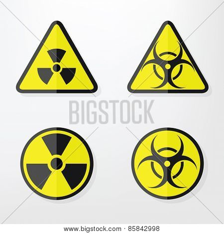 Set of  flat paper Triangular and Round Warning Hazard Signs