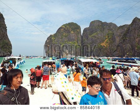 Mass Tourism On Maya Beach Thailand