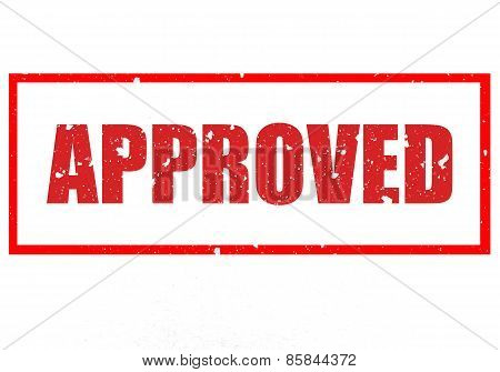 Aged rubber stamp text saying the text Approved poster