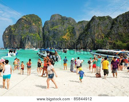 Crowd On The Beach In Thailand