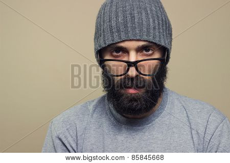 Bearded Hipster Young Man With Glasses