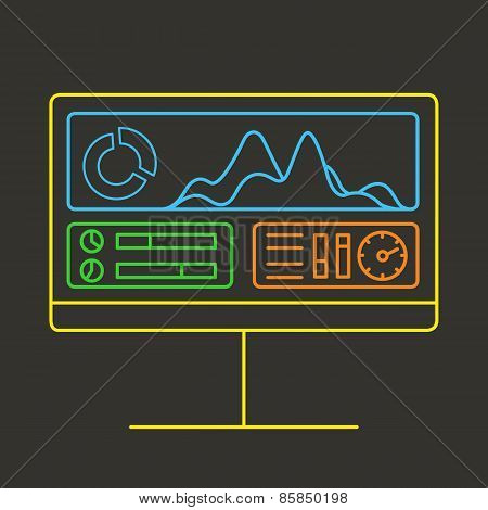 Linear vector illustration of web analytics information and development website statistic - vector illustration poster