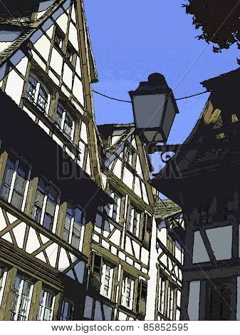 traditional facades in Strasbourg (France / Alsace)