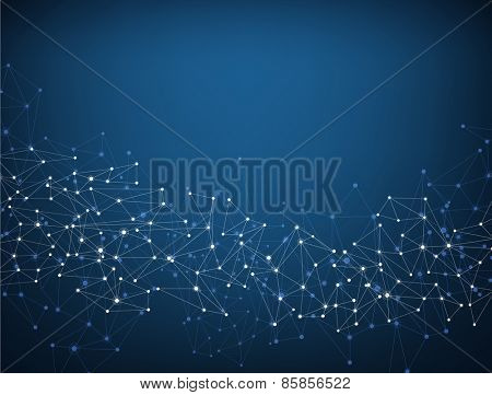 Blue social network mesh. Communication polygonal background. Vector illustration.