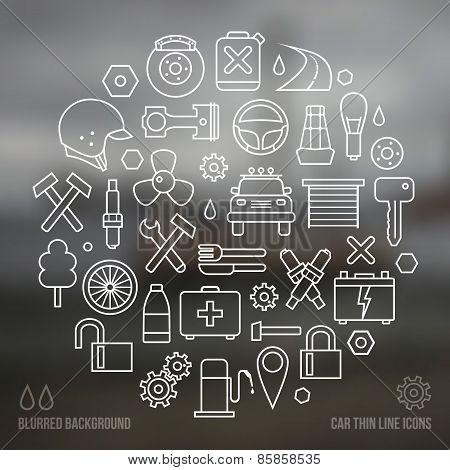 Auto Service Icons Set And Blurred Background