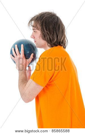 Man Is Ready To Throw A Bowling Ball
