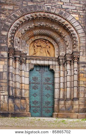 Entrance to medieval Cyril and Methodius catholic church in Prague Czech Republic poster