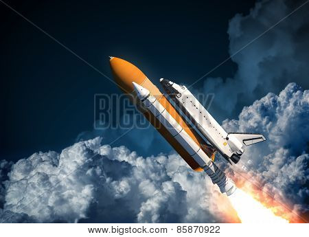 Space Shuttle Flying In The Clouds