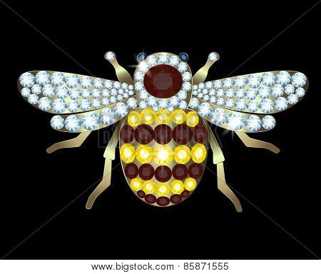 Gold Brooch-bee with diamonds and rubies on a black background poster