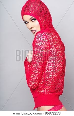 Woman Wearing Red Clothes On Grey Background