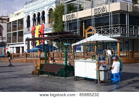 Drink Stand on Plaza Prat Main Square in Iquique, Chile