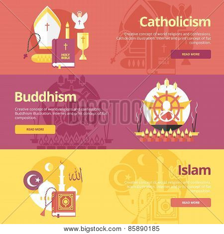 Flat design banner concepts for islam, buddhism, catholicism. Religion concepts for web banners and
