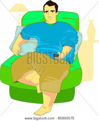 Chubby Guy Browsing Tv