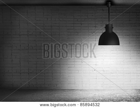 White grunge brick wall and black plafond are lights wall and floor from stone