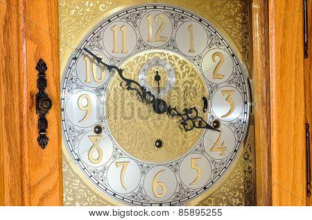 Grandfather Clock Face And Oak Case
