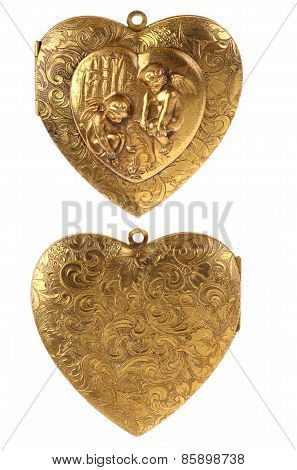 Gold Locket Heart Charm with Cherubs