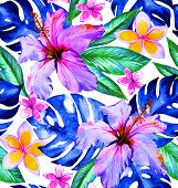 Tropical fashion seamless print design with exotic flowers and leaves. Jungle palm leaves hibiscus plumeria frangipani. poster