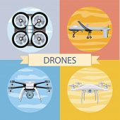 Drone flying for aerial photography or video shooting. Set of different quadrocopters icons. Concept in flat design style. poster