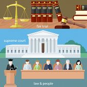 Man in court. Lawyer icons concept. Fair trial. Supreme court. Law and people. Concept in flat design style. poster