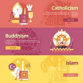 Flat design banner concepts for islam, buddhism, catholicism. Religion concepts for web banners and print materials. poster