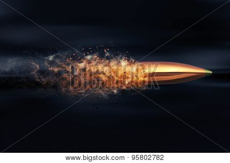 Flying Bullet With Dust Trail