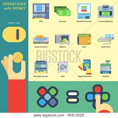 Operation Money Banking Payment ATM Cash Check Machine Coin Hands Flat Icon Isolated Set Vector Illu