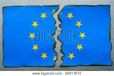 burnt fractured European flag concept
