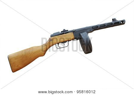 Soviet machine from World War II isolated on white poster