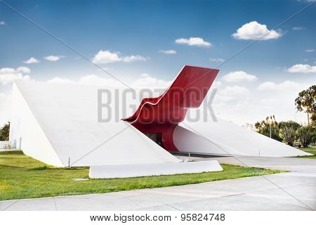 SAO PAOLO, BRAZIL - APRIL 21, 2015: Theater in Ibirapuera Park on April 21, 2015, Sao Paulo, Brazil. The theater is one of the landmarks of Ibirapuera Park, which is a major urban park in Sao Paulo.