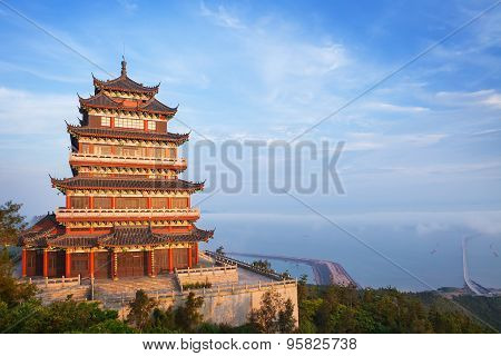 Beautiful ancient temple on the seaside, China