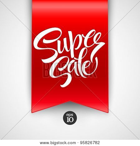 Super Sale lettering with sale labels.