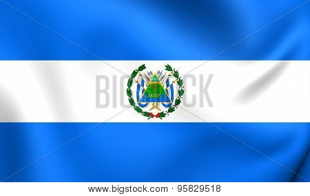 3D Flag of the Nicaragua (1896-1908). Close Up. poster