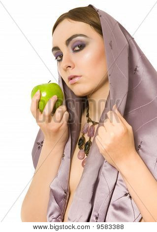 Beautiful Sexy Woman With Green Apple